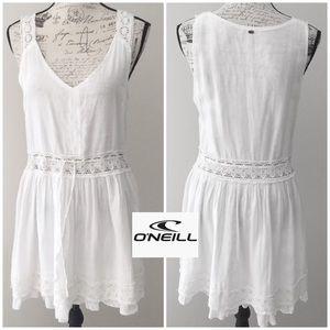 O'Neill White Cotton V-neck Dress